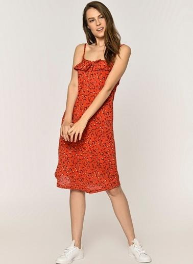 Loves You Askılı Çiçek Desenli Elbise Kırmızı